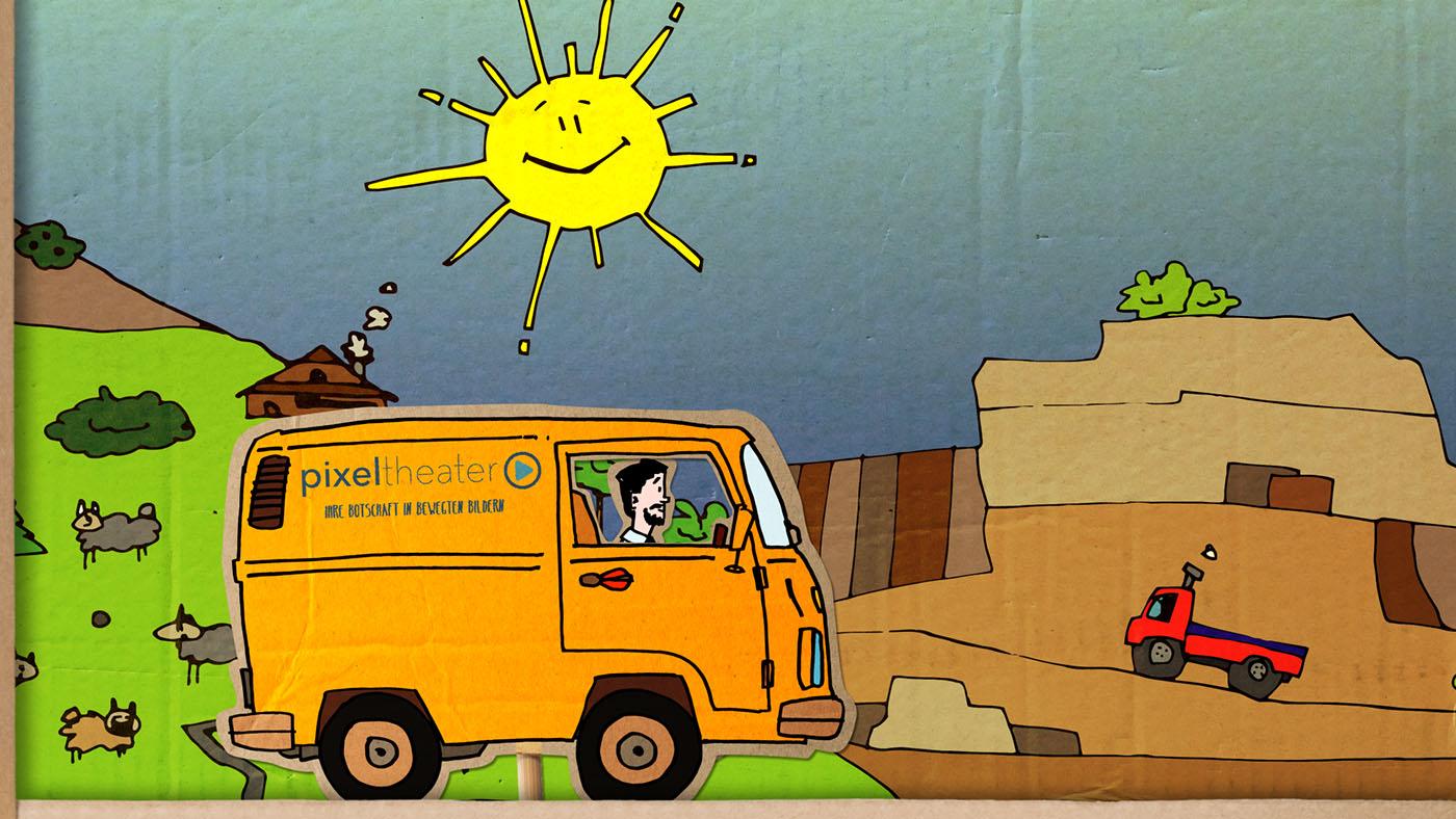 Pixeltheater Pappe Bunt VW Bus
